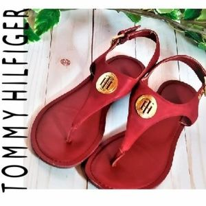 TOMMY HILFIGER RED & GOLD SANDALS SIZE 6M